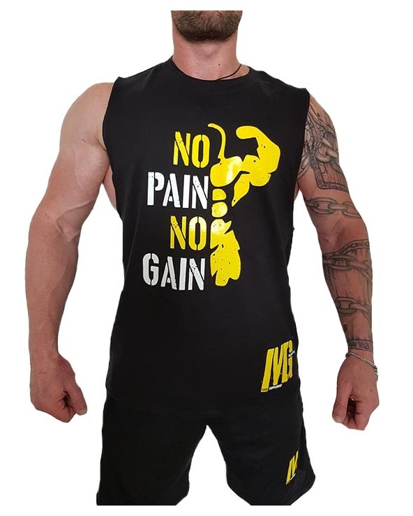 Sleevelees T-Shirt Uomo Black - No Pain No Gain