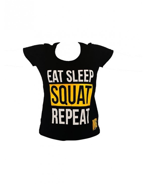 T-shirt Woman Black - Eat Sleep Squat Repeat