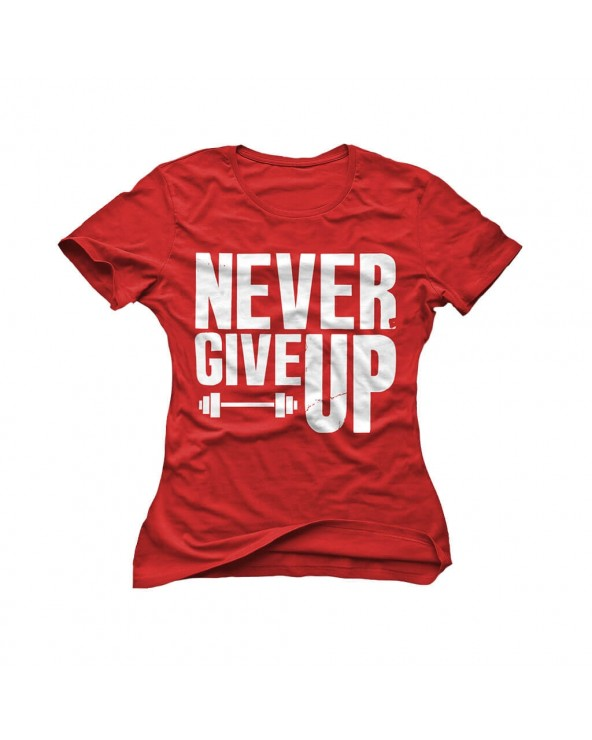 T-Shirt Never Give Up Red Donna
